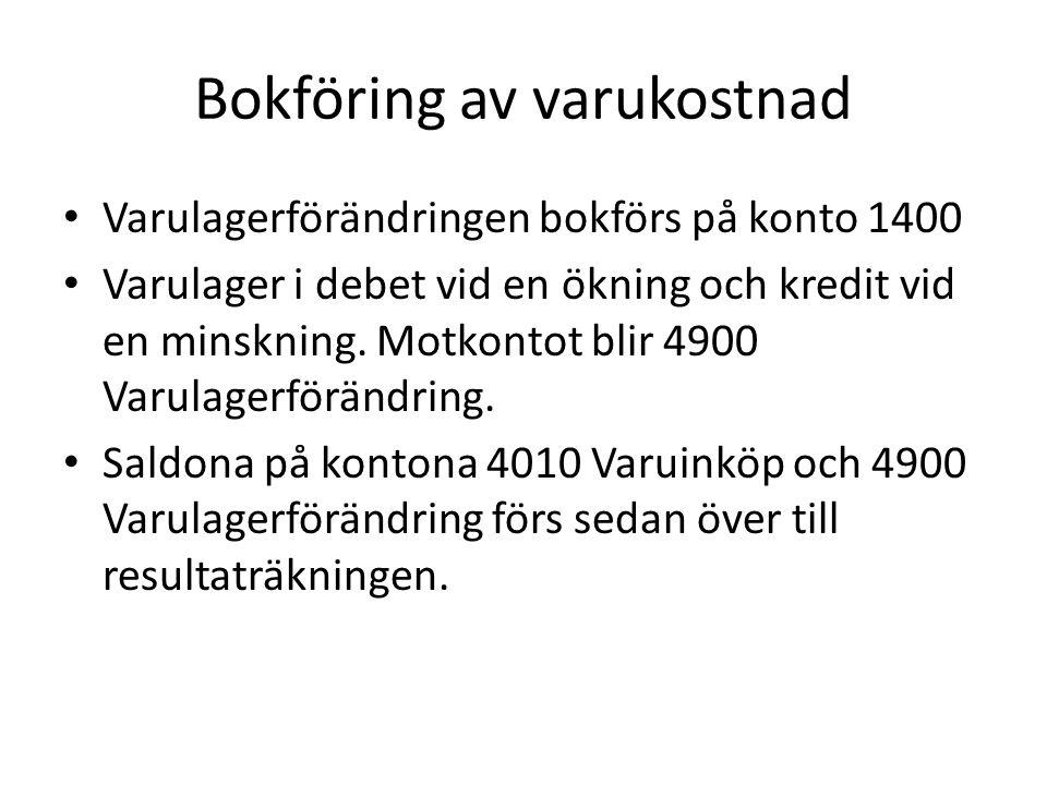 Bokföring av varukostnad Bokslutstablå KontonSaldobalansOmföringarBalansräkningResultaträkning DKDKDKDK 1400Varulager10.2508.76219.012 4010Varuinköp99.200 4900Varulager- förändring 8.762 Förändringen av varulagret är 8.762 kr (19.012 – 10.250) Det som står i omföringskolumnen utgörs i bokföringen av en bokföringsorder.