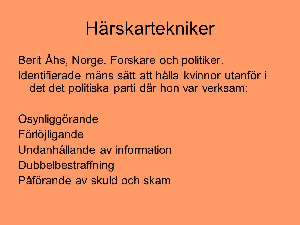 Härskartekniker Berit Åhs, Norge. Forskare och politiker. Identifierade mäns sätt att hålla kvinnor utanför i det det politiska parti där hon var verk