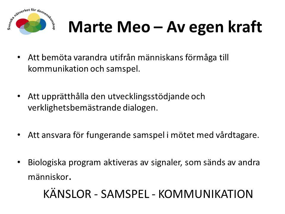 Marte Meo – Av egen kraft Att bemöta varandra utifrån människans förmåga till kommunikation och samspel. Att upprätthålla den utvecklingsstödjande och