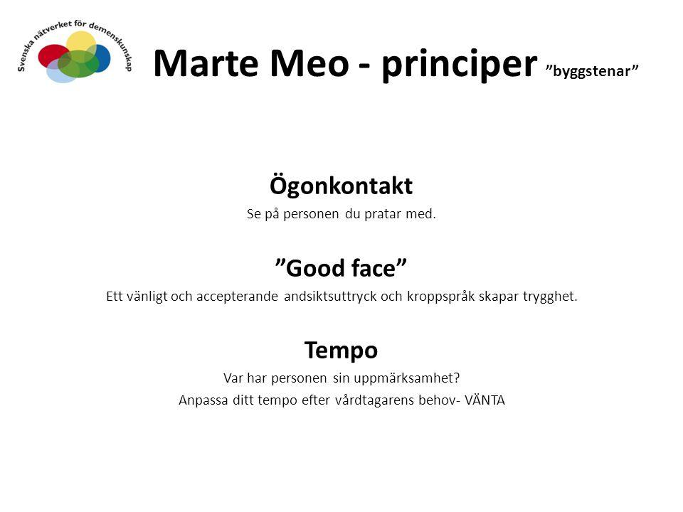 """Marte Meo - principer """"byggstenar"""" Ögonkontakt Se på personen du pratar med. """"Good face"""" Ett vänligt och accepterande andsiktsuttryck och kroppspråk s"""