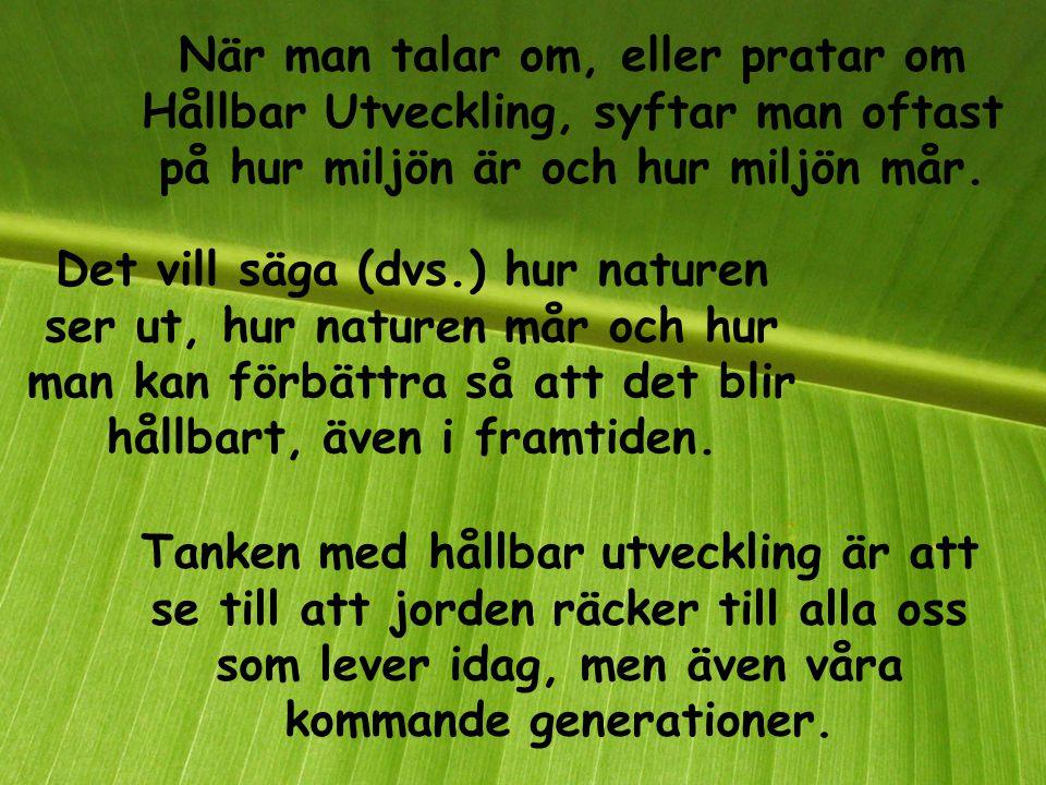 Hållbar eller hållbart betyder och innebär att något räcker länge. Utveckling handlar om att något utvecklas till något bättre. Och att det utvecklas