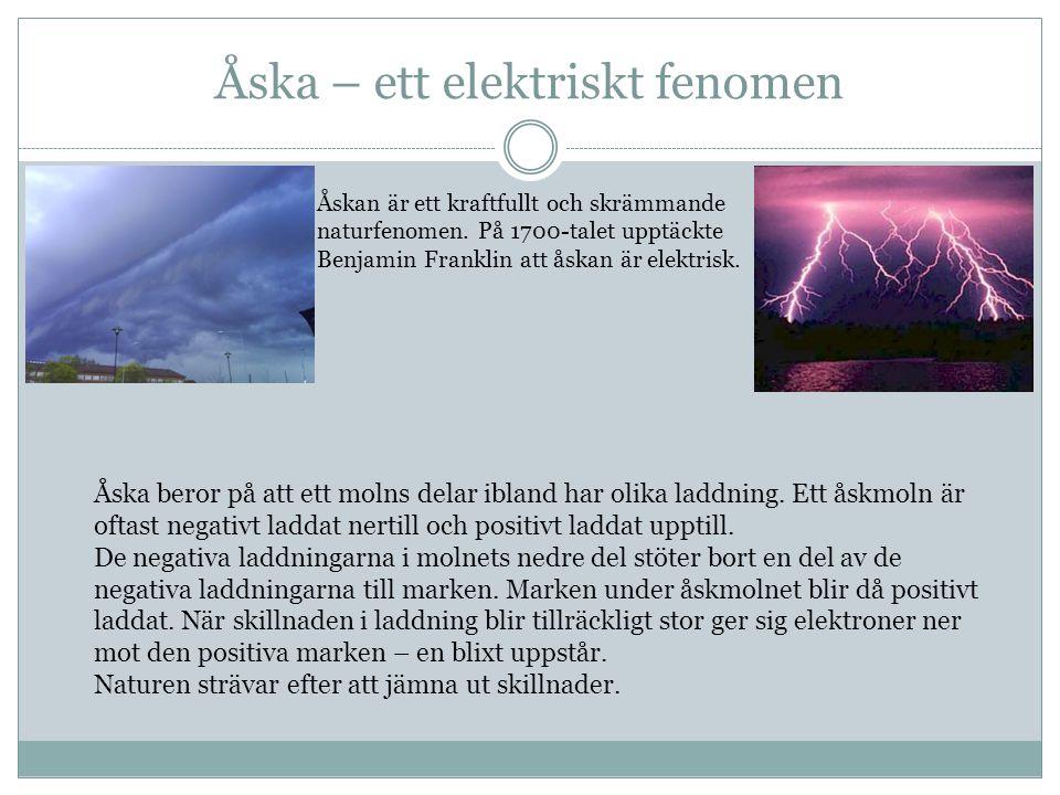 Åska – ett elektriskt fenomen Åska beror på att ett molns delar ibland har olika laddning.
