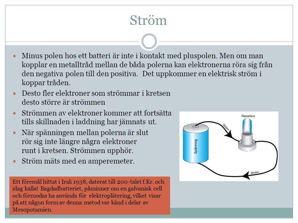 Ström Minus polen hos ett batteri är inte i kontakt med pluspolen.