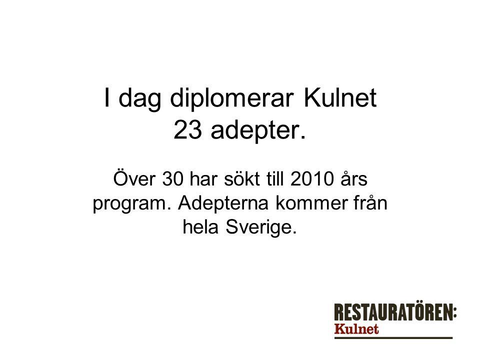 I dag diplomerar Kulnet 23 adepter. Över 30 har sökt till 2010 års program.