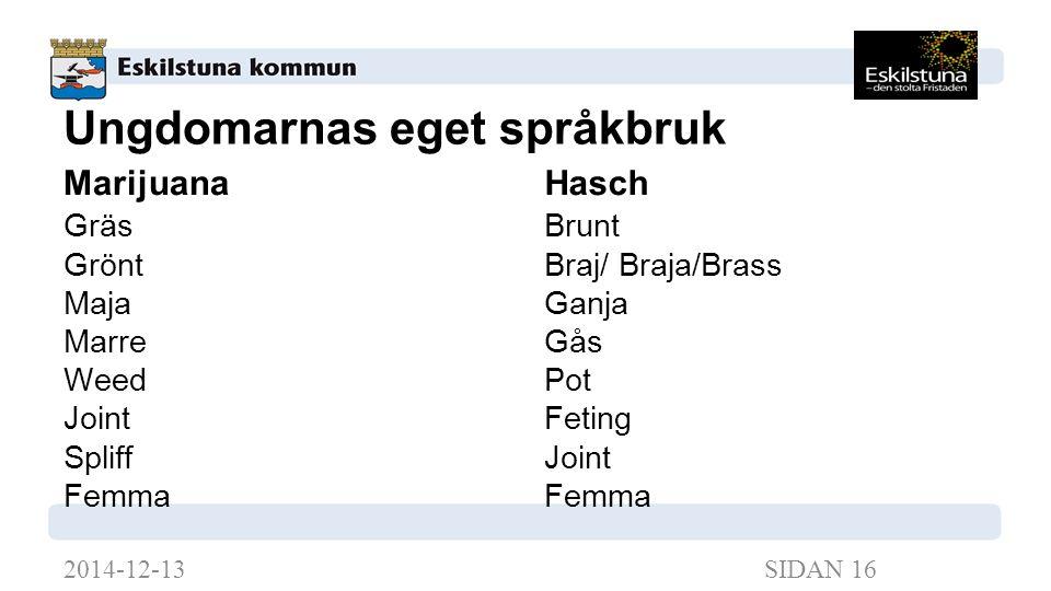Ungdomarnas eget språkbruk Marijuana Gräs Grönt Maja Marre Weed Joint Spliff Femma Hasch Brunt Braj/ Braja/Brass Ganja Gås Pot Feting Joint Femma 2014-12-13SIDAN 16