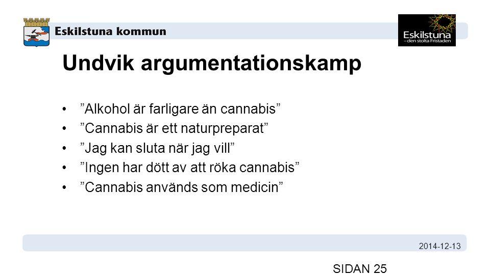 Undvik argumentationskamp Alkohol är farligare än cannabis Cannabis är ett naturpreparat Jag kan sluta när jag vill Ingen har dött av att röka cannabis Cannabis används som medicin 2014-12-13 SIDAN 25