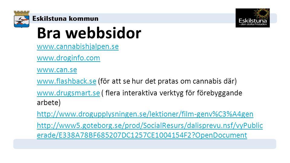 Bra webbsidor www.cannabishjalpen.se www.droginfo.com www.can.se www.flashback.sewww.flashback.se (för att se hur det pratas om cannabis där) www.drugsmart.sewww.drugsmart.se ( flera interaktiva verktyg för förebyggande arbete) http://www.drogupplysningen.se/lektioner/film-genv%C3%A4gen http://www5.goteborg.se/prod/SocialResurs/dalisprevu.nsf/vyPublic erade/E338A78BF685207DC1257CE1004154F2?OpenDocument