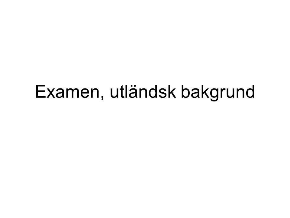Examen, utländsk bakgrund