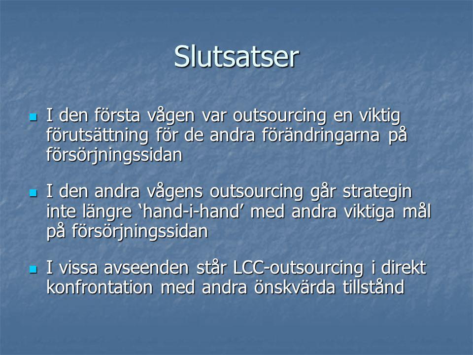 Slutsatser I den första vågen var outsourcing en viktig förutsättning för de andra förändringarna på försörjningssidan I den första vågen var outsourcing en viktig förutsättning för de andra förändringarna på försörjningssidan I den andra vågens outsourcing går strategin inte längre 'hand-i-hand' med andra viktiga mål på försörjningssidan I den andra vågens outsourcing går strategin inte längre 'hand-i-hand' med andra viktiga mål på försörjningssidan I vissa avseenden står LCC-outsourcing i direkt konfrontation med andra önskvärda tillstånd I vissa avseenden står LCC-outsourcing i direkt konfrontation med andra önskvärda tillstånd