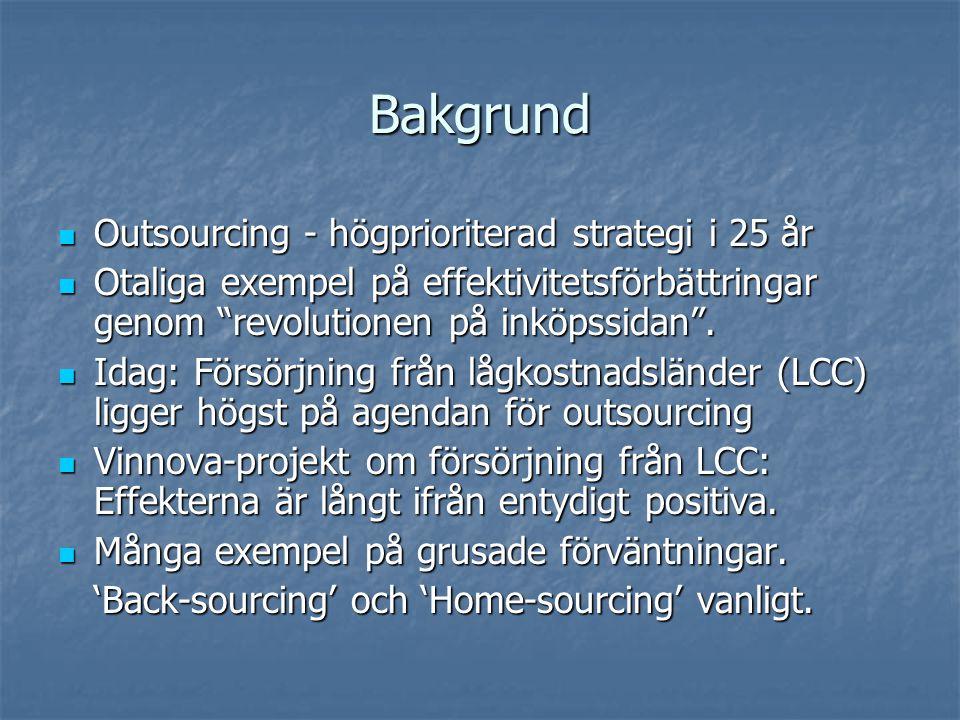 Bakgrund Outsourcing - högprioriterad strategi i 25 år Outsourcing - högprioriterad strategi i 25 år Otaliga exempel på effektivitetsförbättringar genom revolutionen på inköpssidan .