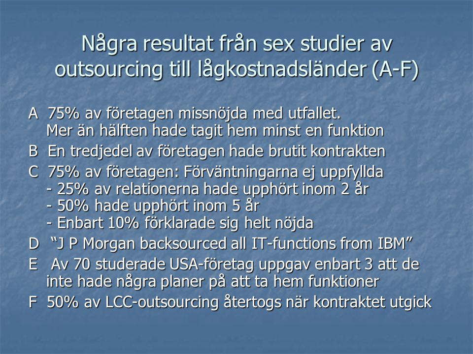 Några resultat från sex studier av outsourcing till lågkostnadsländer (A-F) A 75% av företagen missnöjda med utfallet.