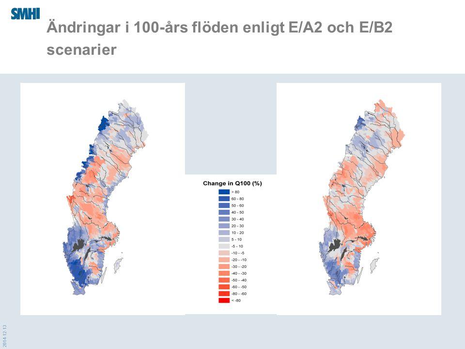 2014-12-13 Ändringar i 100-års flöden enligt E/A2 och E/B2 scenarier