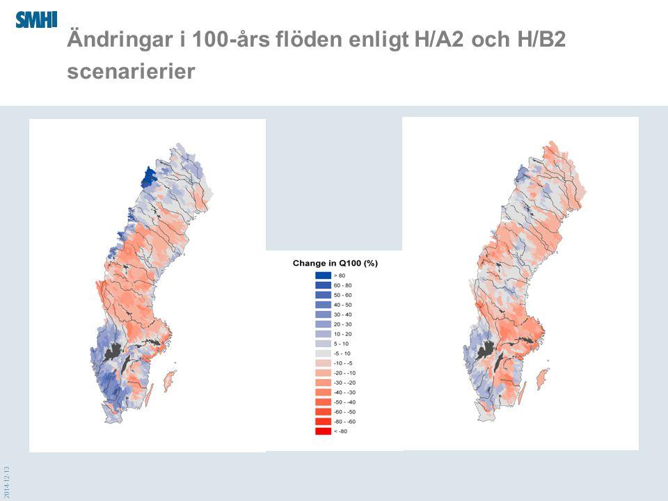 2014-12-13 Ändringar i 100-års flöden enligt H/A2 och H/B2 scenarierier