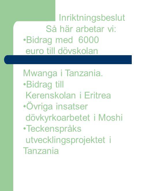 Inriktningsbeslut Så här arbetar vi: Bidrag med 6000 euro till dövskolan Mwanga i Tanzania. Bidrag till Kerenskolan i Eritrea Övriga insatser dövkyrko