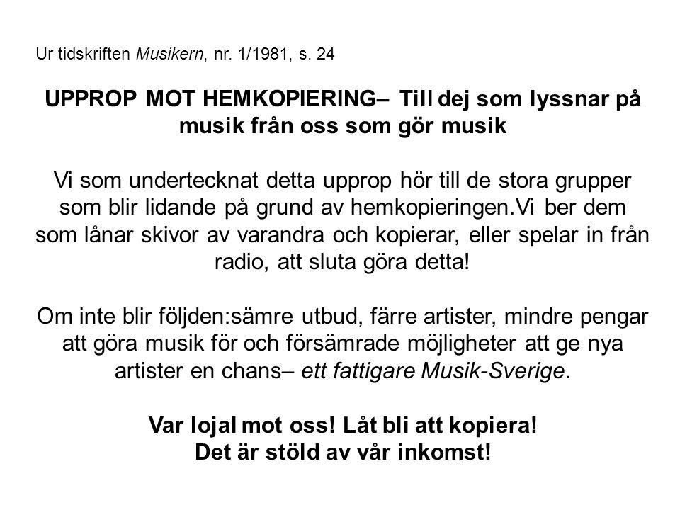 Ur tidskriften Musikern, nr. 1/1981, s.