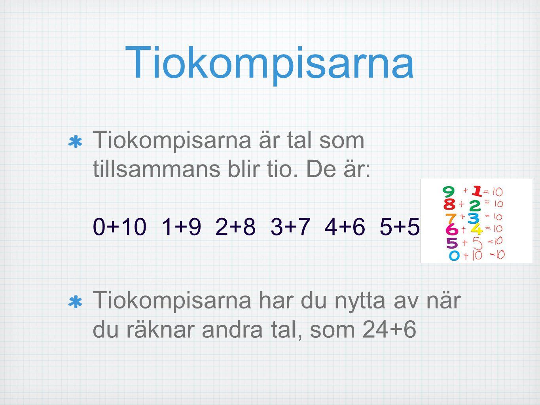 Tiokompisarna Tiokompisarna är tal som tillsammans blir tio. De är: 0+10 1+9 2+8 3+7 4+6 5+5 Tiokompisarna har du nytta av när du räknar andra tal, so