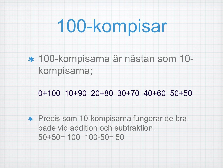 100-kompisar 100-kompisarna är nästan som 10- kompisarna; 0+100 10+90 20+80 30+70 40+60 50+50 Precis som 10-kompisarna fungerar de bra, både vid addit