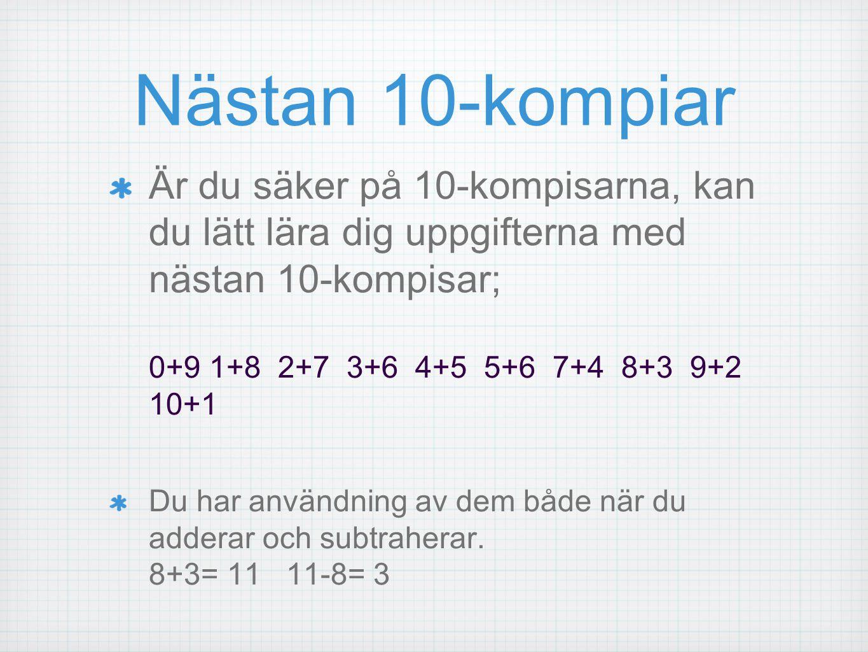 Nästan 10-kompiar Är du säker på 10-kompisarna, kan du lätt lära dig uppgifterna med nästan 10-kompisar; 0+9 1+8 2+7 3+6 4+5 5+6 7+4 8+3 9+2 10+1 Du h
