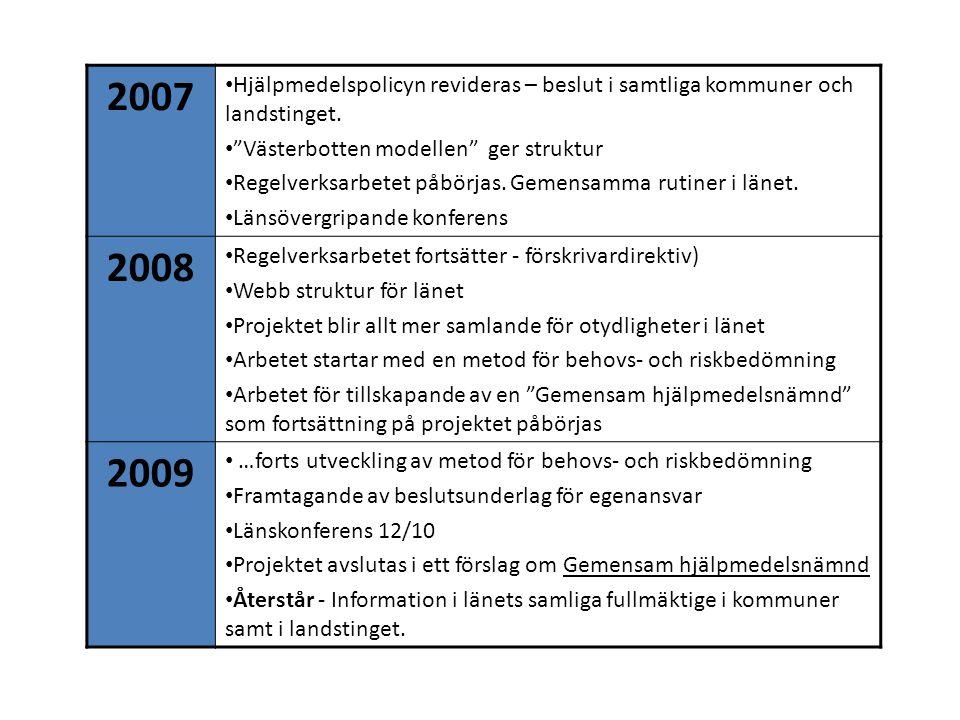 """2007 Hjälpmedelspolicyn revideras – beslut i samtliga kommuner och landstinget. """"Västerbotten modellen"""" ger struktur Regelverksarbetet påbörjas. Gemen"""