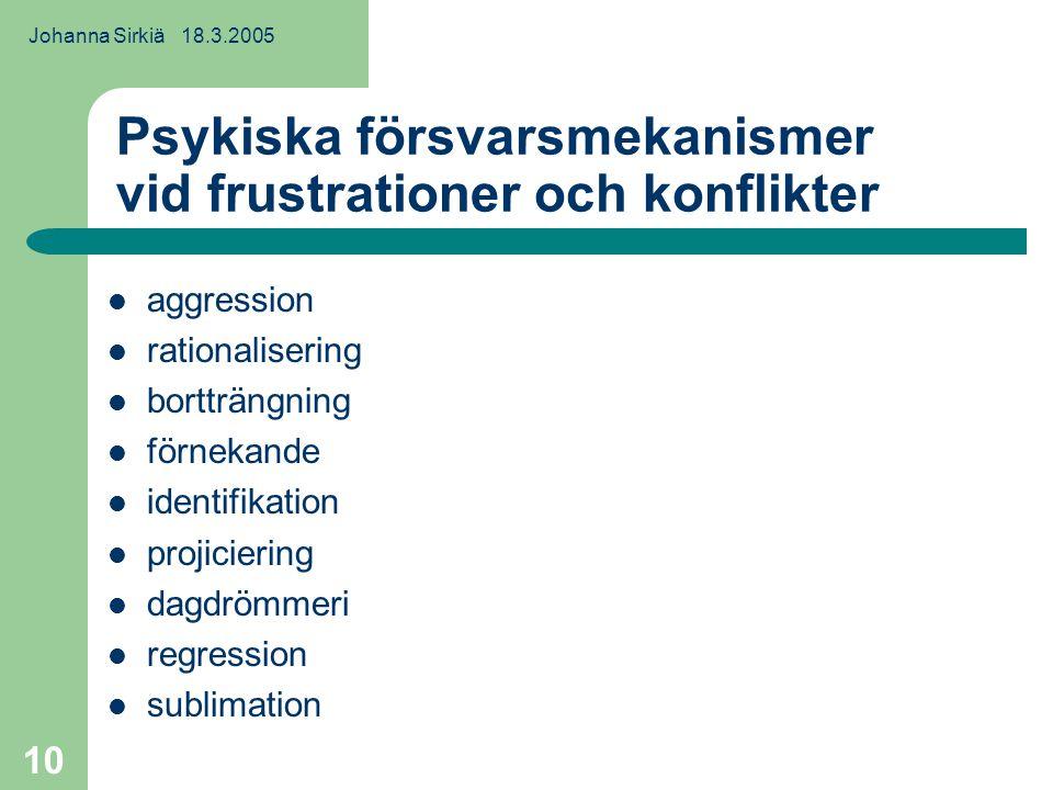Johanna Sirkiä 18.3.2005 10 Psykiska försvarsmekanismer vid frustrationer och konflikter aggression rationalisering bortträngning förnekande identifikation projiciering dagdrömmeri regression sublimation