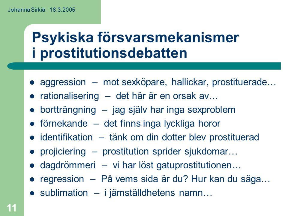 Johanna Sirkiä 18.3.2005 11 Psykiska försvarsmekanismer i prostitutionsdebatten aggression – mot sexköpare, hallickar, prostituerade… rationalisering – det här är en orsak av… bortträngning – jag själv har inga sexproblem förnekande – det finns inga lyckliga horor identifikation – tänk om din dotter blev prostituerad projiciering – prostitution sprider sjukdomar… dagdrömmeri – vi har löst gatuprostitutionen… regression – På vems sida är du.