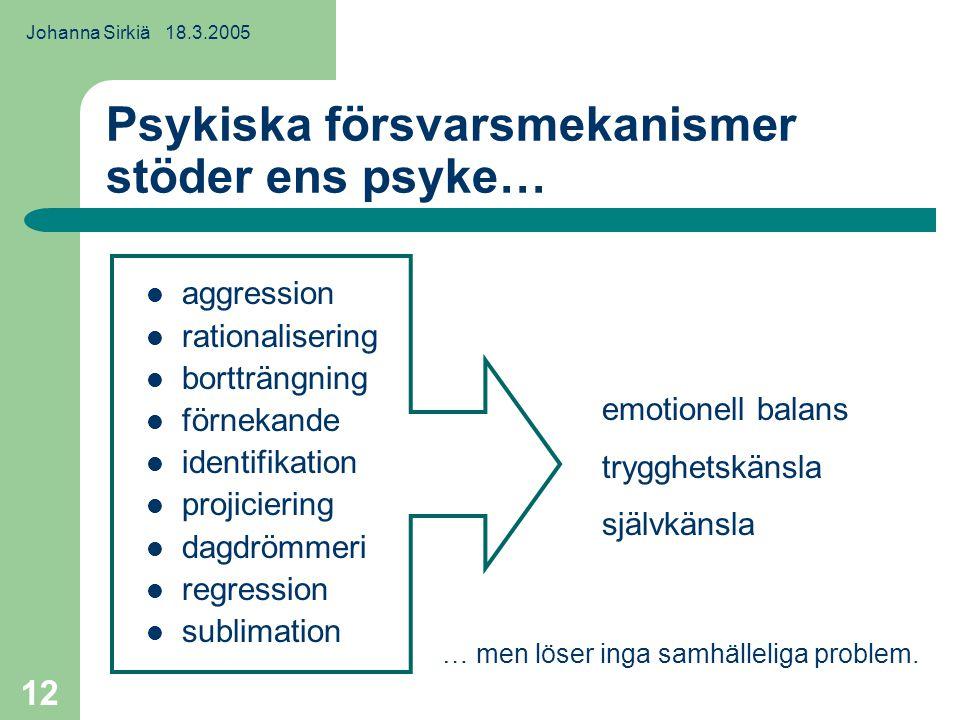 Johanna Sirkiä 18.3.2005 12 Psykiska försvarsmekanismer stöder ens psyke… aggression rationalisering bortträngning förnekande identifikation projiciering dagdrömmeri regression sublimation emotionell balans trygghetskänsla självkänsla … men löser inga samhälleliga problem.