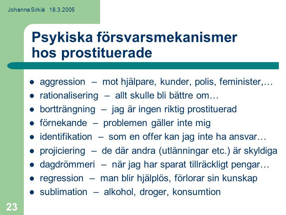Johanna Sirkiä 18.3.2005 23 Psykiska försvarsmekanismer hos prostituerade aggression – mot hjälpare, kunder, polis, feminister,… rationalisering – allt skulle bli bättre om… bortträngning – jag är ingen riktig prostituerad förnekande – problemen gäller inte mig identifikation – som en offer kan jag inte ha ansvar… projiciering – de där andra (utlänningar etc.) är skyldiga dagdrömmeri – när jag har sparat tillräckligt pengar… regression – man blir hjälplös, förlorar sin kunskap sublimation – alkohol, droger, konsumtion