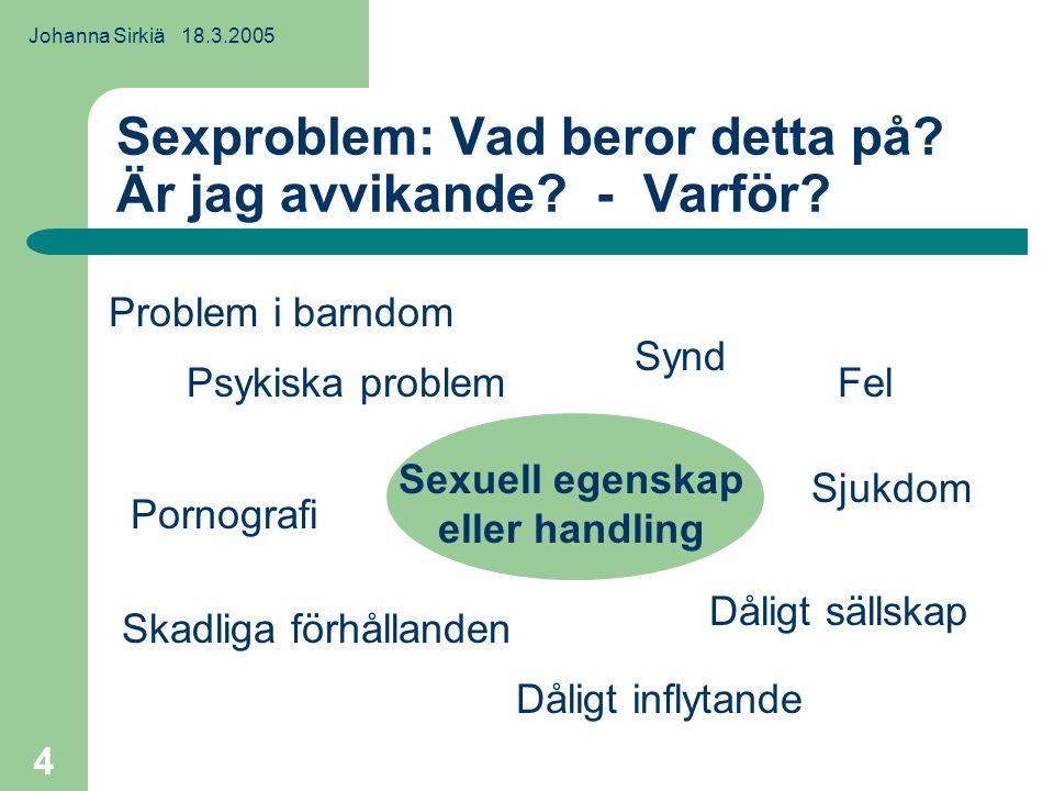 Johanna Sirkiä 18.3.2005 4 Sexproblem: Vad beror detta på.