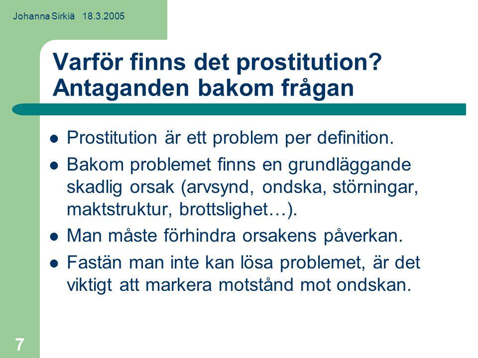 Johanna Sirkiä 18.3.2005 8 Prostitution som en bra fiende och ett mål för projiciering Problematiskt.