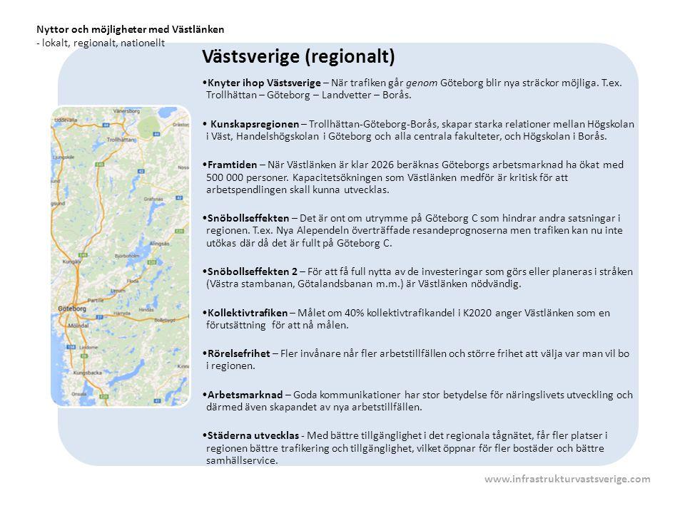 Västsverige (regionalt) Knyter ihop Västsverige – När trafiken går genom Göteborg blir nya sträckor möjliga. T.ex. Trollhättan – Göteborg – Landvetter