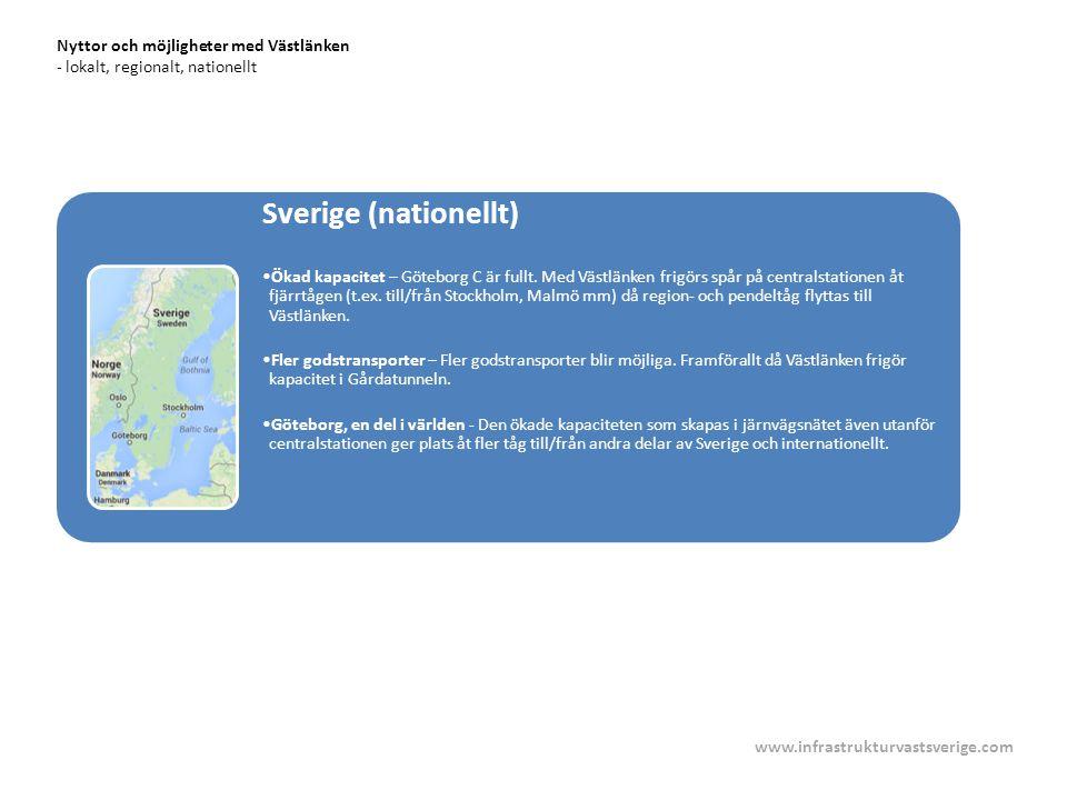 Sverige (nationellt) Ökad kapacitet – Göteborg C är fullt. Med Västlänken frigörs spår på centralstationen åt fjärrtågen (t.ex. till/från Stockholm, M