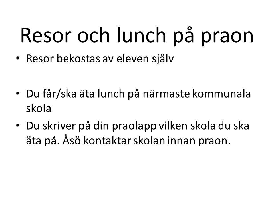 Resor och lunch på praon Resor bekostas av eleven själv Du får/ska äta lunch på närmaste kommunala skola Du skriver på din praolapp vilken skola du sk