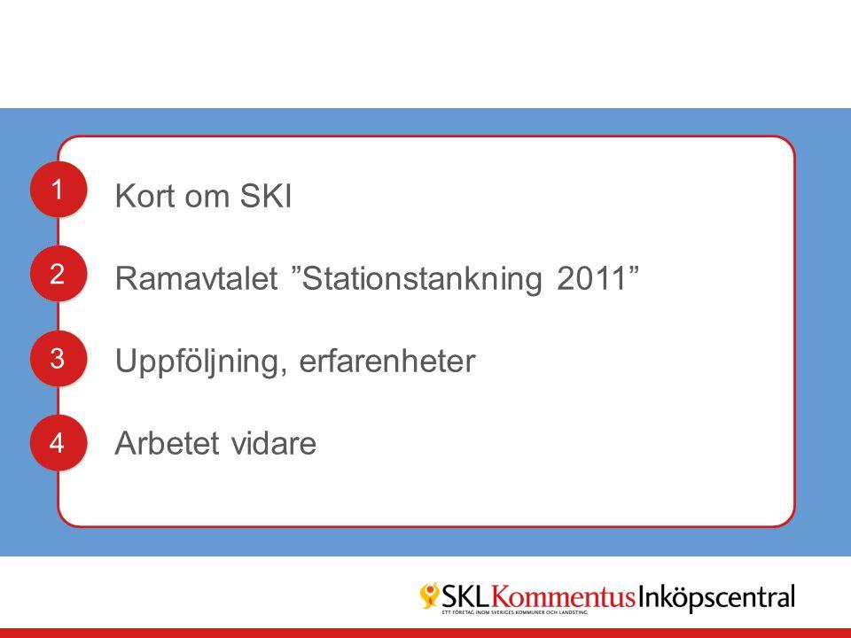 """Kort om SKI Ramavtalet """"Stationstankning 2011"""" Uppföljning, erfarenheter Arbetet vidare 1 1 2 2 3 3 4 4"""