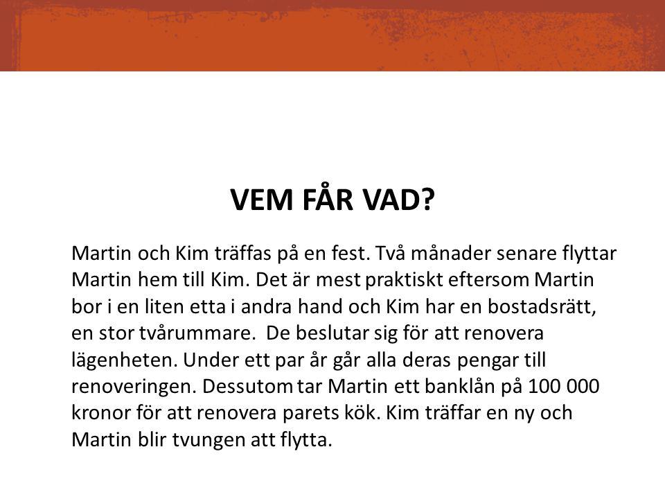 VEM FÅR VAD? Martin och Kim träffas på en fest. Två månader senare flyttar Martin hem till Kim. Det är mest praktiskt eftersom Martin bor i en liten e