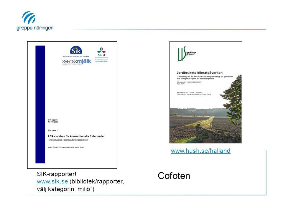 "www.hush.se/halland SIK-rapporter! www.sik.sewww.sik.se (bibliotek/rapporter, välj kategorin ""miljö"") Cofoten"