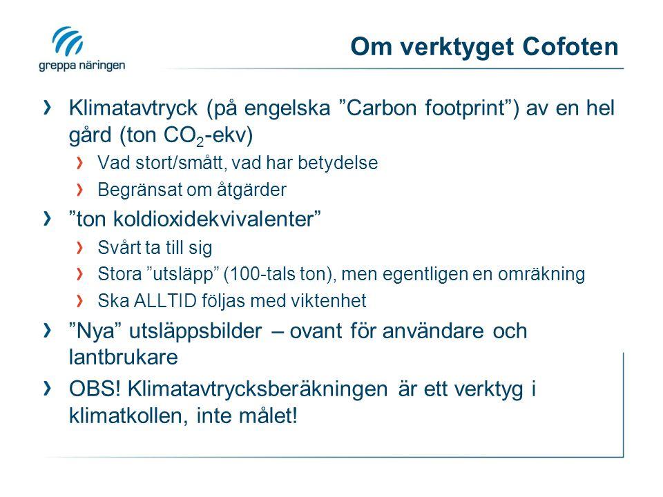 """Om verktyget Cofoten Klimatavtryck (på engelska """"Carbon footprint"""") av en hel gård (ton CO 2 -ekv) Vad stort/smått, vad har betydelse Begränsat om åtg"""