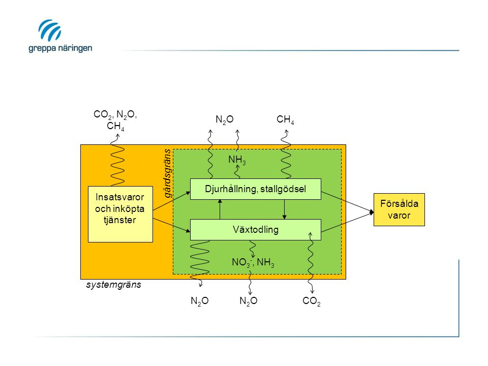 CO 2, N 2 O, CH 4 N2ON2O NH 3 Djurhållning, stallgödsel CH 4 NO 3 -, NH 3 Växtodling N2ON2ON2ON2OCO 2 gårdsgräns Försålda varor systemgräns Insatsvaro
