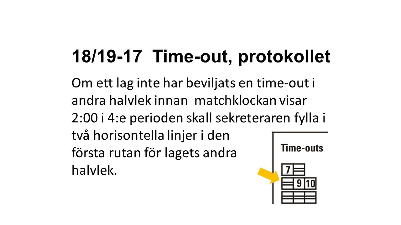 18/19-17 Time-out, protokollet Om ett lag inte har beviljats en time-out i andra halvlek innan matchklockan visar 2:00 i 4:e perioden skall sekreterar
