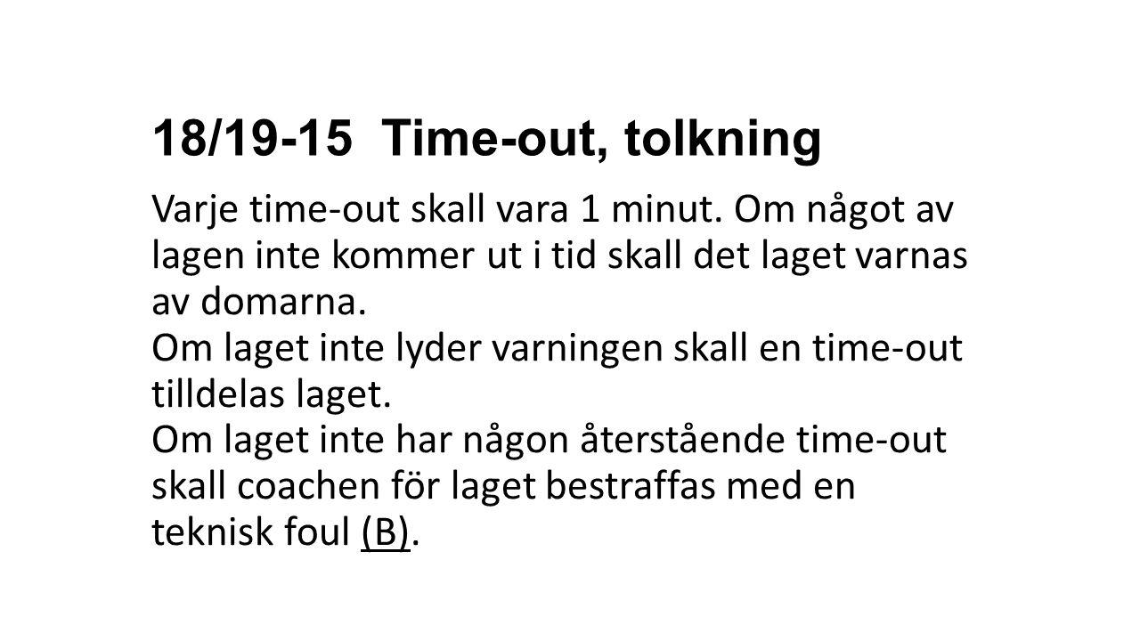 18/19-15 Time-out, tolkning Varje time-out skall vara 1 minut. Om något av lagen inte kommer ut i tid skall det laget varnas av domarna. Om laget inte