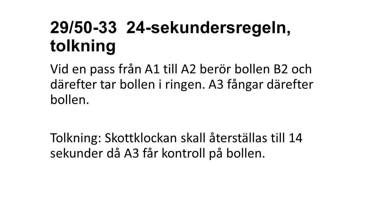29/50-33 24-sekundersregeln, tolkning Vid en pass från A1 till A2 berör bollen B2 och därefter tar bollen i ringen. A3 fångar därefter bollen. Tolknin
