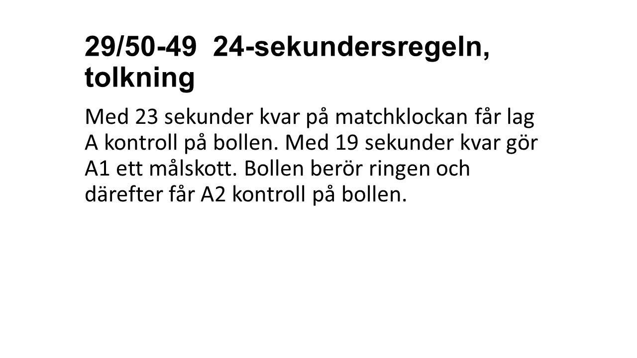 29/50-49 24-sekundersregeln, tolkning Med 23 sekunder kvar på matchklockan får lag A kontroll på bollen. Med 19 sekunder kvar gör A1 ett målskott. Bol