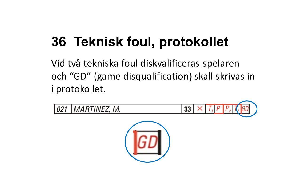 """36 Teknisk foul, protokollet Vid två tekniska foul diskvalificeras spelaren och """"GD"""" (game disqualification) skall skrivas in i protokollet. OFFICIAL"""
