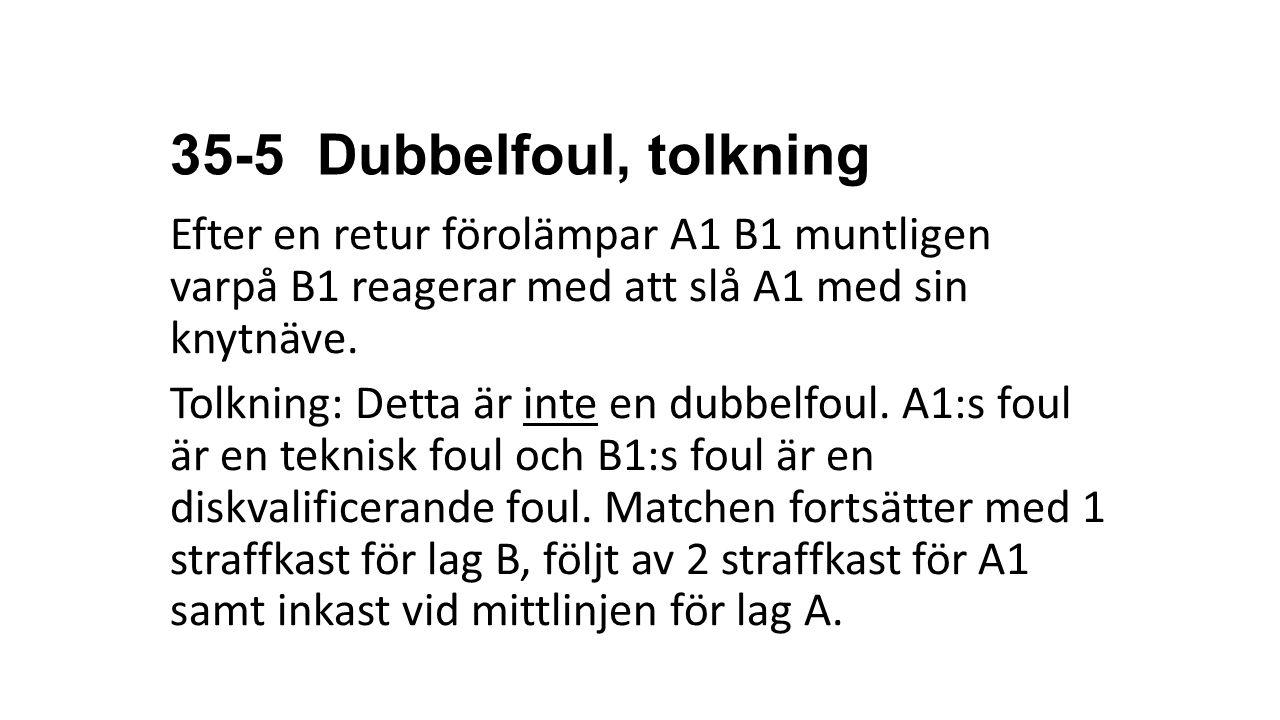 35-5 Dubbelfoul, tolkning Efter en retur förolämpar A1 B1 muntligen varpå B1 reagerar med att slå A1 med sin knytnäve. Tolkning: Detta är inte en dubb