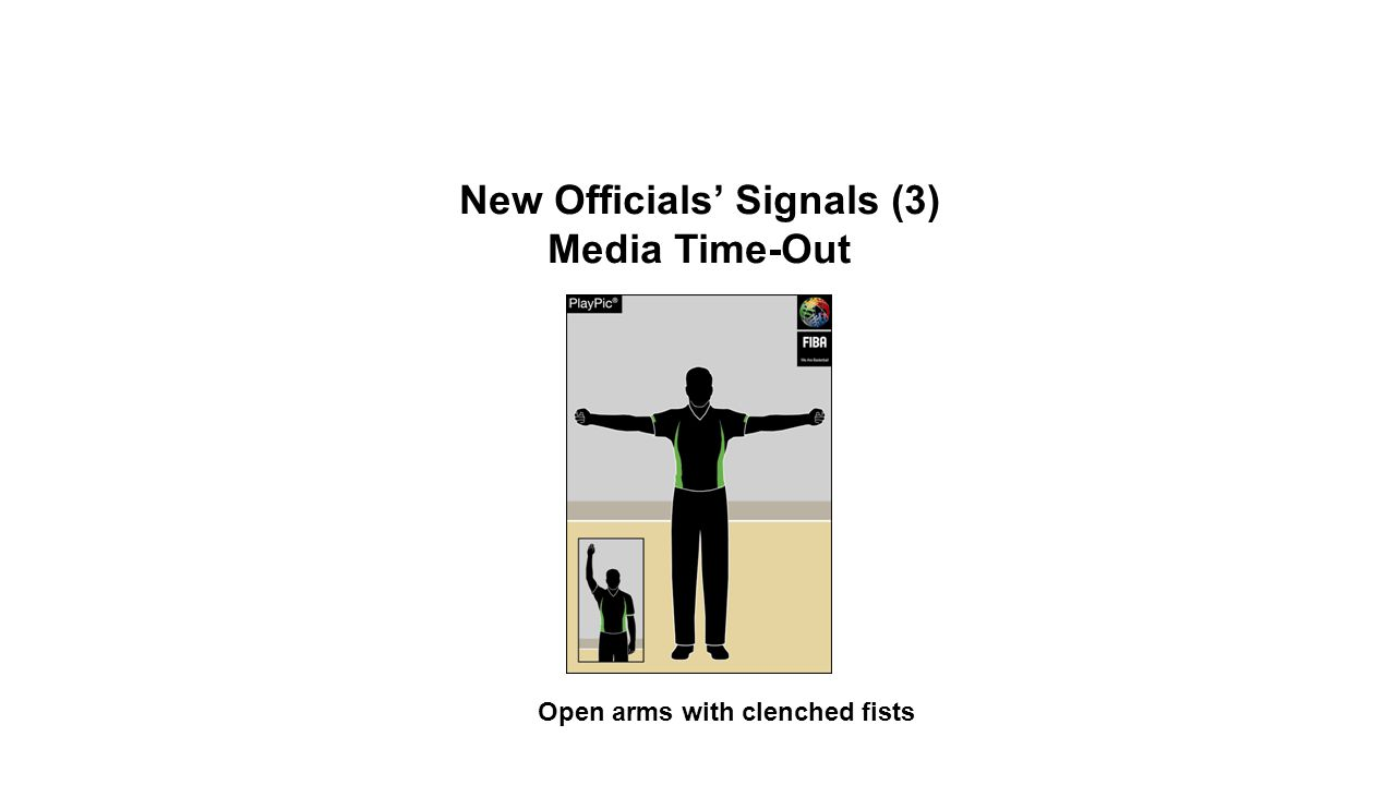 New Officials' Signals (3) Media Time-Out Open arms with clenched fists OFFICIAL BASKETBALL RULES 2014 SUMMARY OF CHANGES