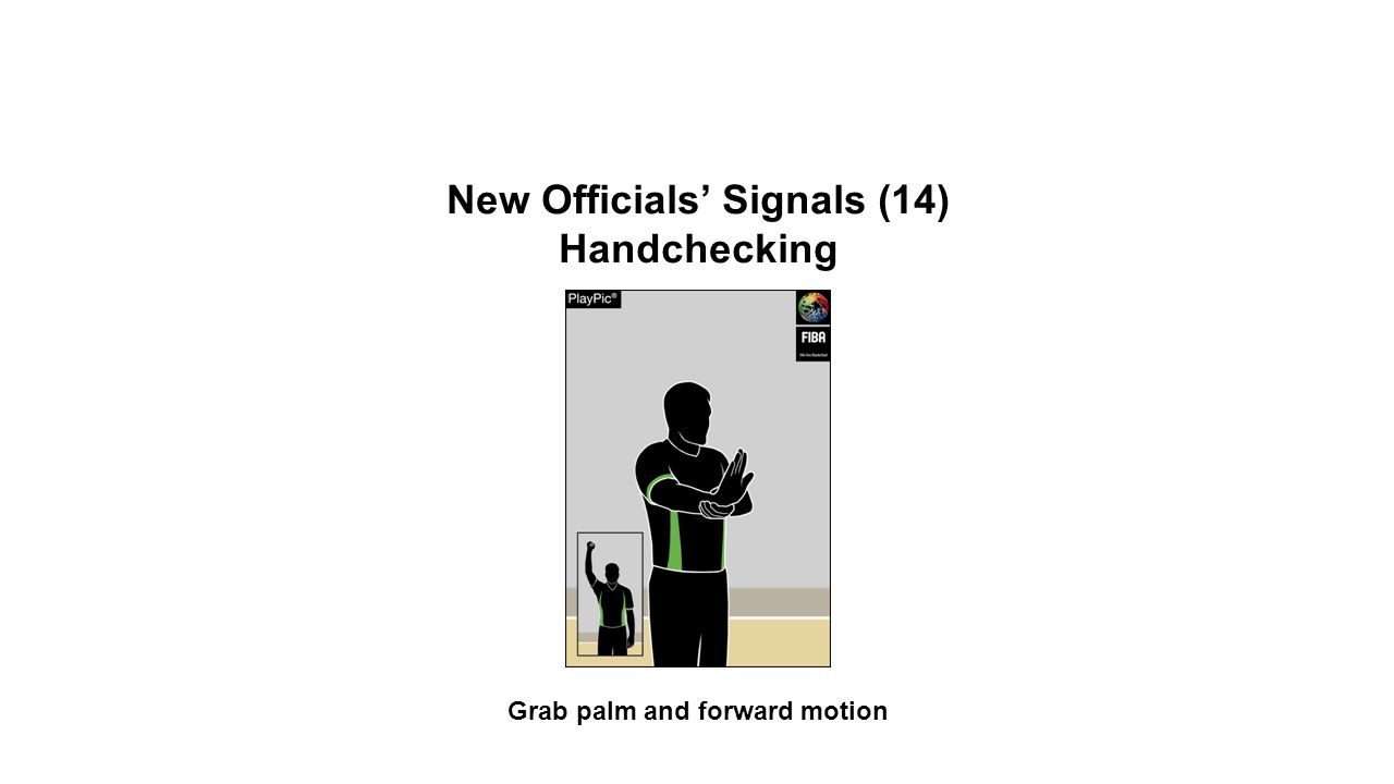 New Officials' Signals (14) Handchecking Grab palm and forward motion OFFICIAL BASKETBALL RULES 2014 SUMMARY OF CHANGES
