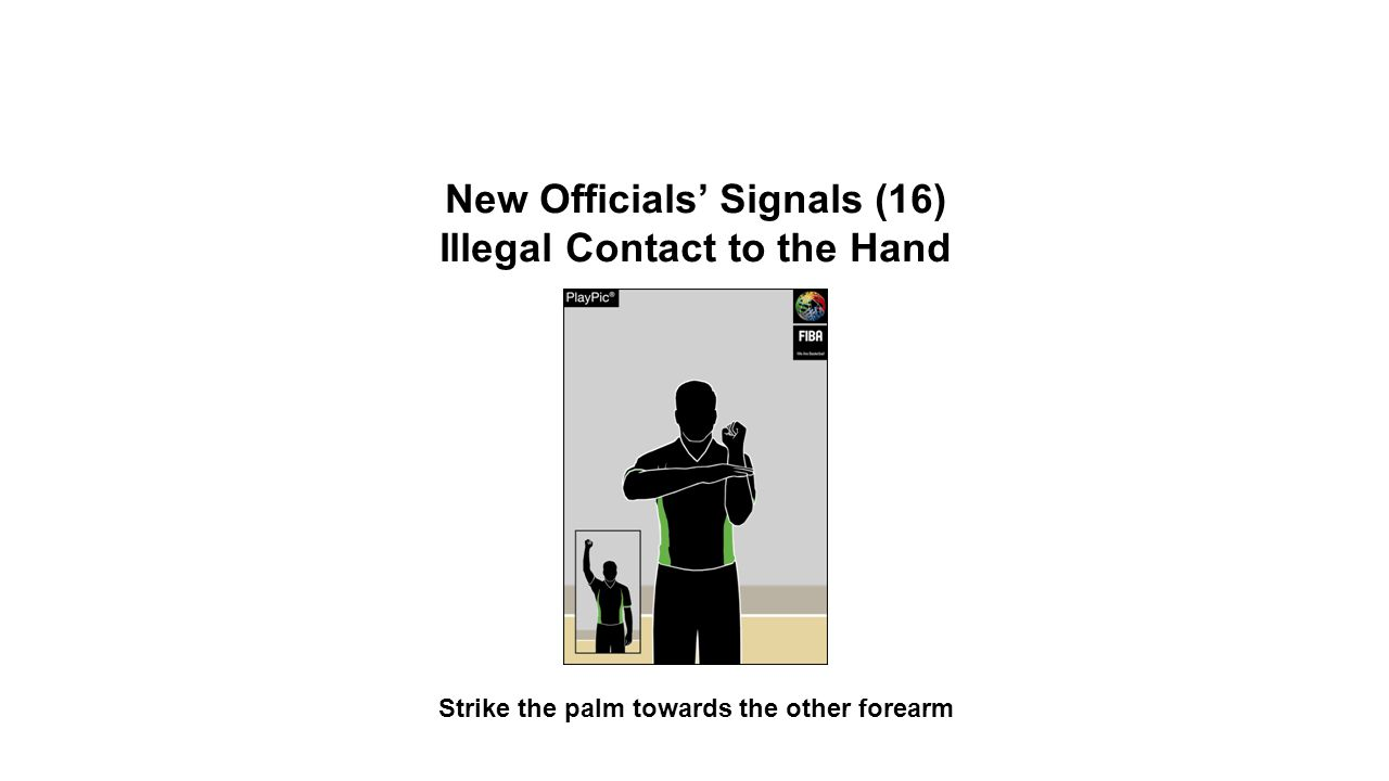 New Officials' Signals (16) Illegal Contact to the Hand Strike the palm towards the other forearm OFFICIAL BASKETBALL RULES 2014 SUMMARY OF CHANGES