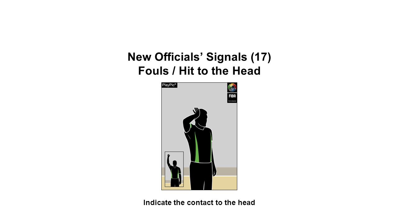 New Officials' Signals (17) Fouls / Hit to the Head Indicate the contact to the head OFFICIAL BASKETBALL RULES 2014 SUMMARY OF CHANGES