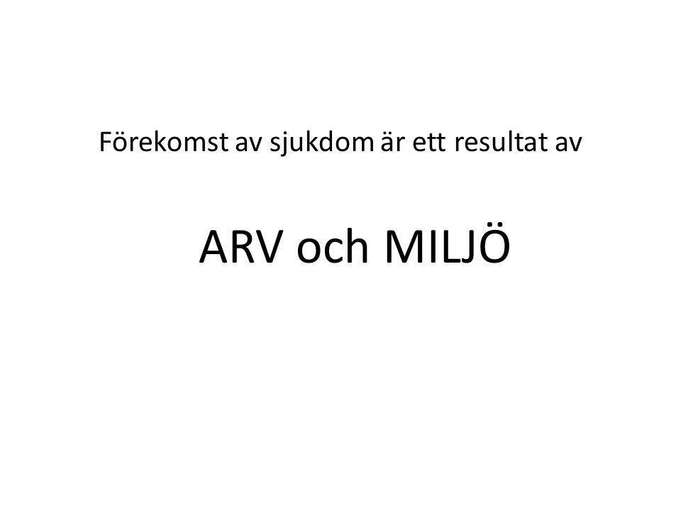 Förekomst av sjukdom är ett resultat av ARV och MILJÖ
