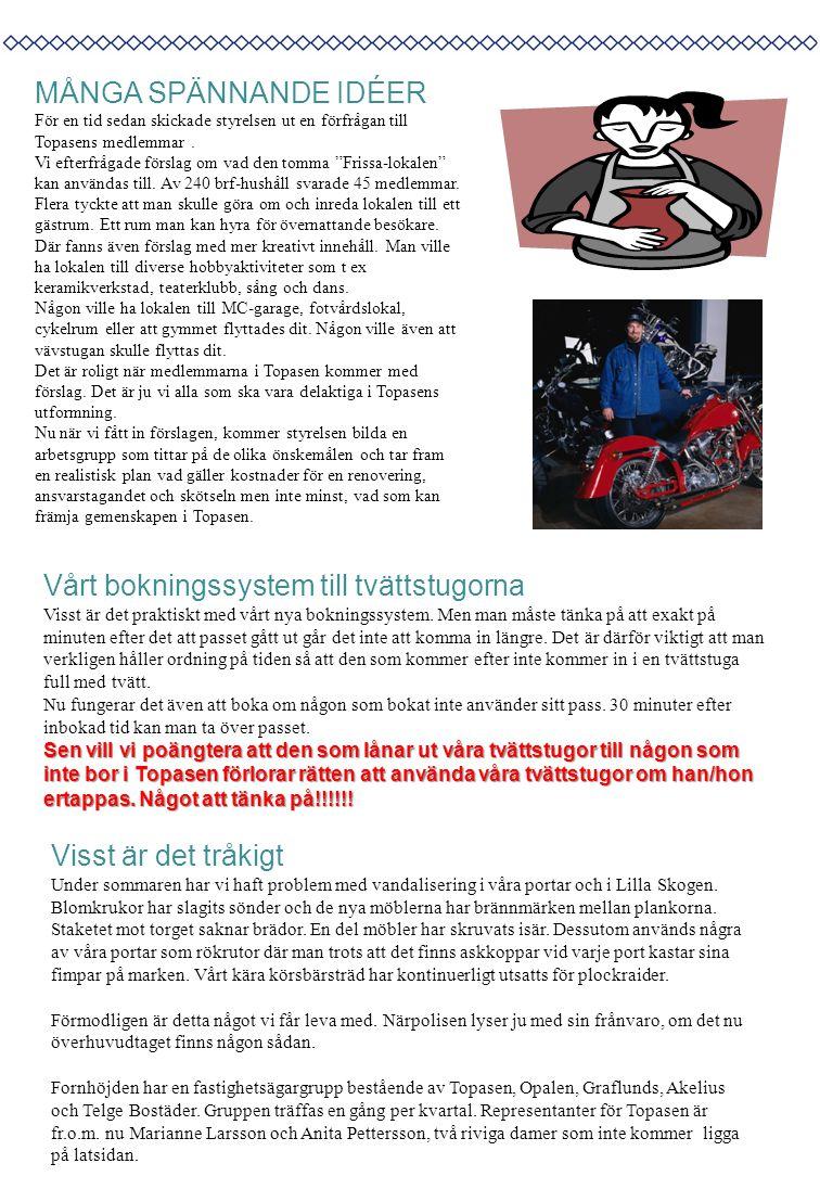 Topasen Nytt utges av HSBs bostadsrättsförening Topasen, och riktar sig till medlemmar/boende i föreningen.