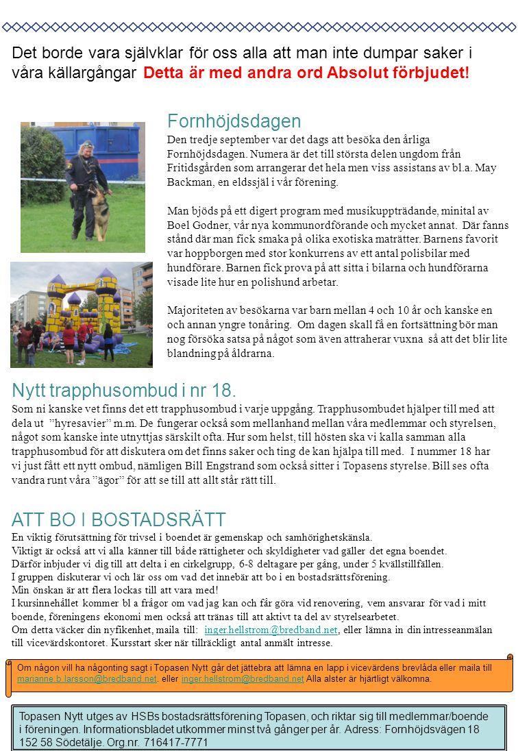 Topasen Nytt utges av HSBs bostadsrättsförening Topasen, och riktar sig till medlemmar/boende i föreningen. Informationsbladet utkommer minst två gång